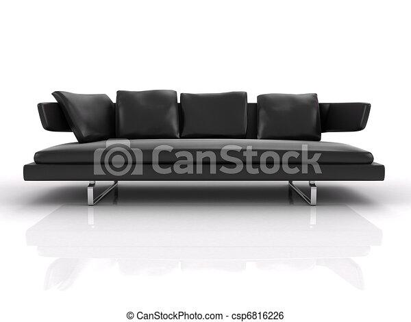 design de qualité 8b679 91aba cuir, 3d, noir, isolé, divan