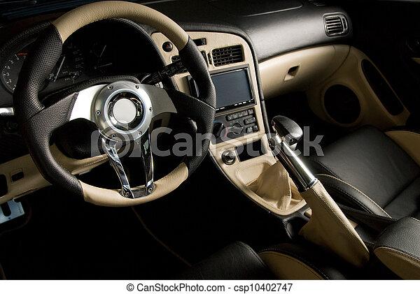 Cuir, accordé, voiture., luxe, intérieur, sport photo de stock ...