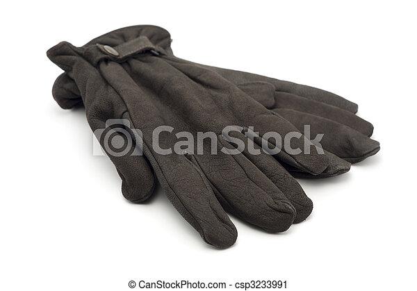 cuir, brun, gants - csp3233991