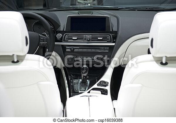 cuir, voiture, blanc, tableau bord, sièges - csp16039388