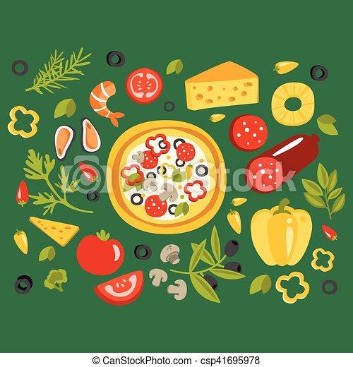 cuisine, différent, entouré, ingrédients, cuisine, il, illustration, préparation, plat, pizza, italien - csp41695978