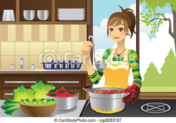 cuisine, femme foyer - csp8283197