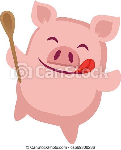 cuisine, illustration, arrière-plan., vecteur, porcin, blanc - csp69308236
