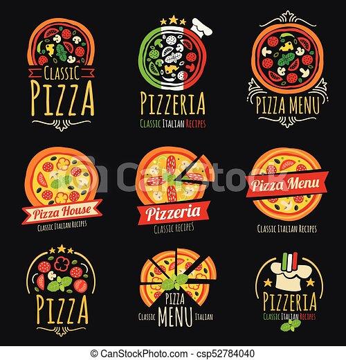 cuisine, logos., restaurant, étiquettes, emblèmes, vecteur, pizzeria, italien, pizza - csp52784040
