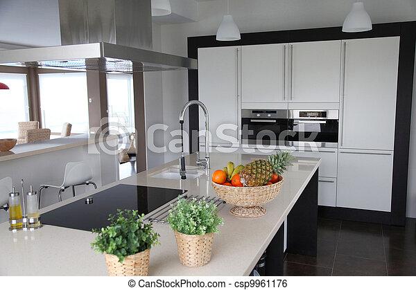 cuisine maison, vue, contemporain, général - csp9961176