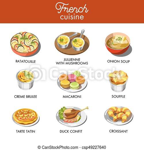 cuisine, plats, la plupart, francais, célèbre, délicieux, exquis - csp49227640
