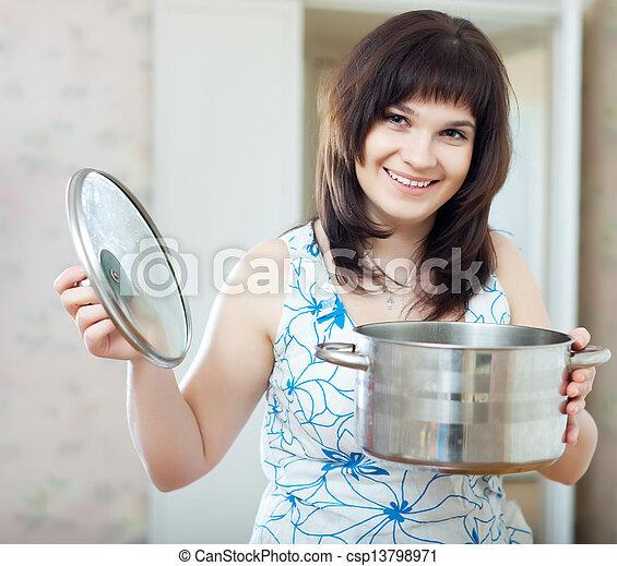 cuisinier, ordinaire, femme, moule - csp13798971
