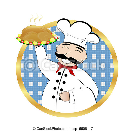 cuisinier, poulet, rôti - csp16606117