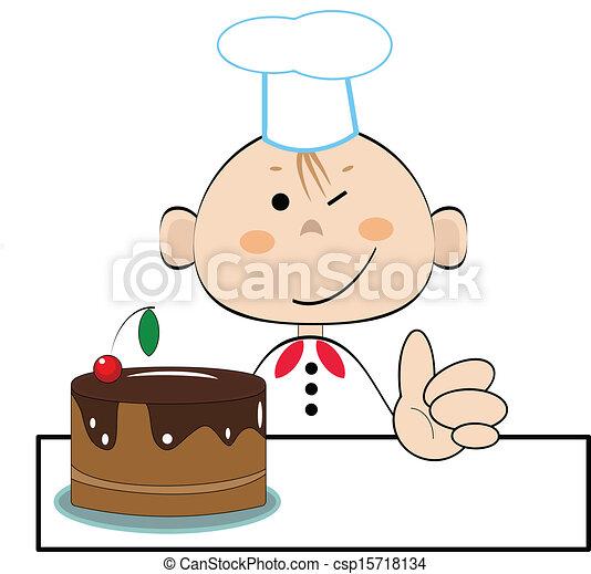cuisinier, rigolote, vecteur - csp15718134