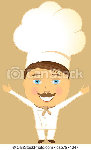 Cuisinier sourire ouvrir bras heureux bras invitation for Cuisinier bras