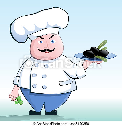 cuisinier v g tarien olives illustration chef