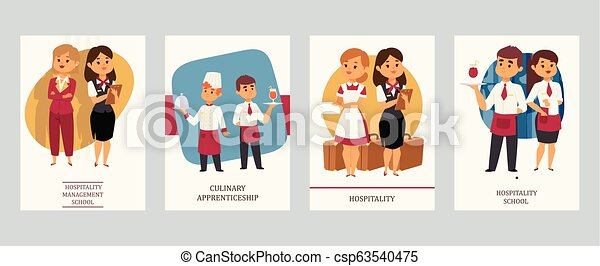 Culinary arts or hospitality school vector Illustration. Cards with hotel staff, meneger and assistant, chef and waiter, housekeeper and receptionist, female and male servants. - csp63540475