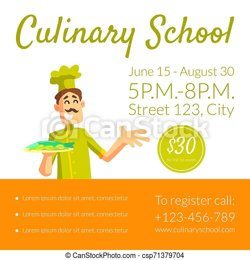 Culinary School Banner Template Cooking Classes Design Element Invitation Voucher Flyer Coupon Vector Illustration