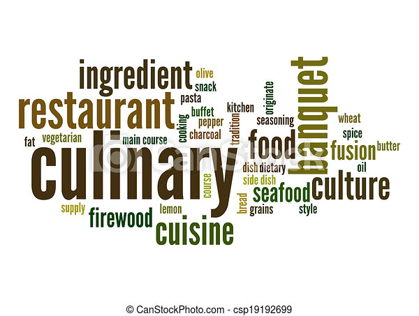 culinary word cloud stock illustration search vector clipart rh canstockphoto com Culinary Graphics Culinary Graphics