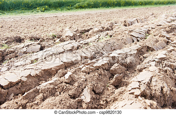 cultivated agriculture soil of ploughed field - csp9820130
