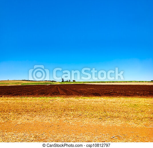 Cultivated ploughed field in farm agriculture area - csp10812797