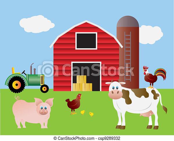 cultive animais, celeiro vermelho - csp9289332