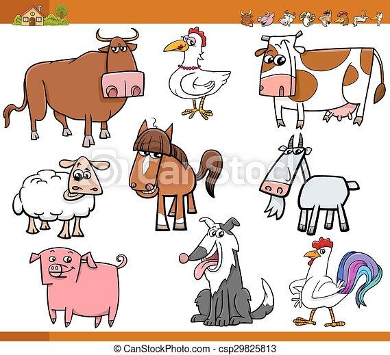 Los animales de granja pusieron dibujos animados ilustrados - csp29825813