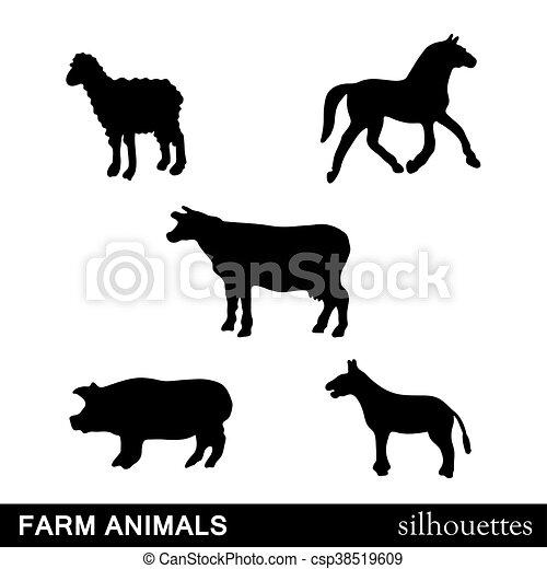 Los animales de granja Vector siluetas iso - csp38519609