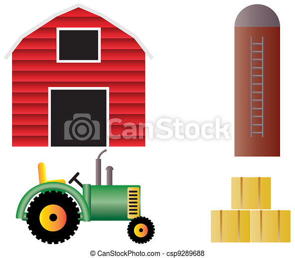 Cultive animales, tractor, granero rojo. Granja, aislado ...