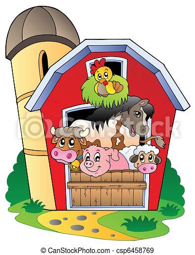 Un establo con varios animales de granja - csp6458769