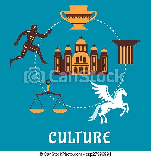 Cultura concetto grecia flatl icone blu corridore for Concetto aperto di piani coloniali