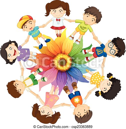 cultural diversity kids holding hands around colourful vector rh canstockphoto com cultural diversity clipart diversity clip art for commercial use