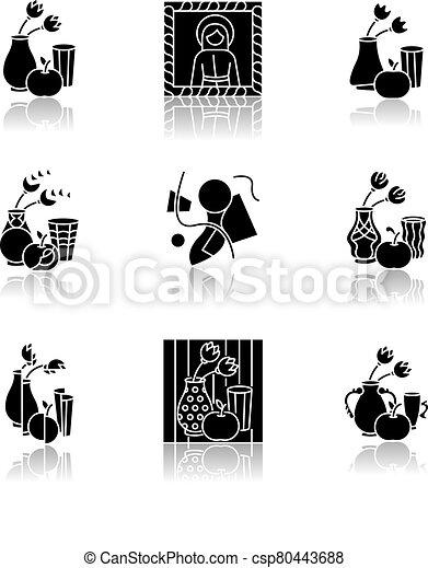 Cultural movements drop shadow black glyph icons set - csp80443688