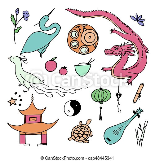 Culture Of China Icons Hand Drawn Chinese Symbols Vector Illustration