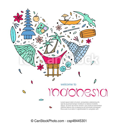 Culture of indonesia design concept in the form of heart with text. main attractions. vector