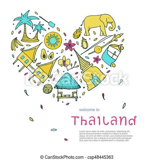 Culture Of Thailand Design Concept Hand Drawn Symbols Vector