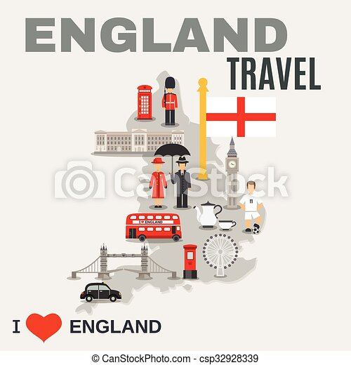 culture, voyageurs, angleterre, affiche - csp32928339