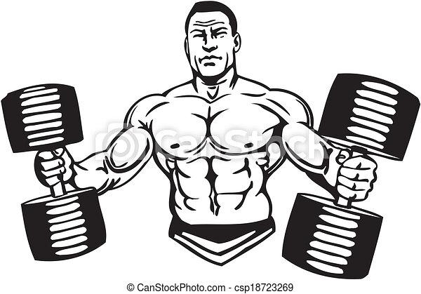 Construcción corporal y levantamiento de energía, vector. - csp18723269