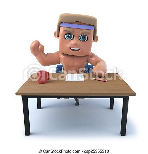 El fisiculturista 3D está trabajando en su escritorio - csp25355310