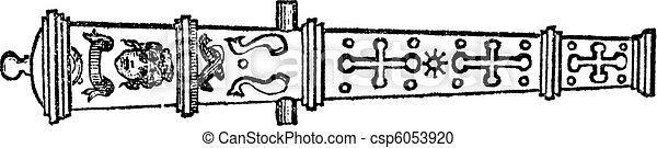 Culverin or medieval cannon vintage engraving. - csp6053920