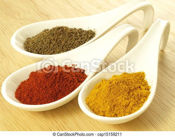 Cumin, turmeric and pepper - csp15159211