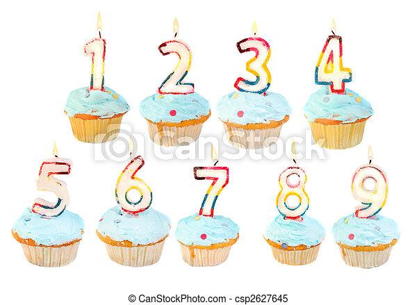 cumpleaños, conjunto, cupcake - csp2627645