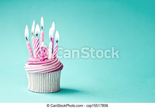 cumpleaños, cupcake - csp15517806