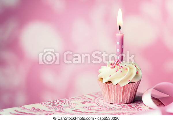 cumpleaños, cupcake - csp6530820