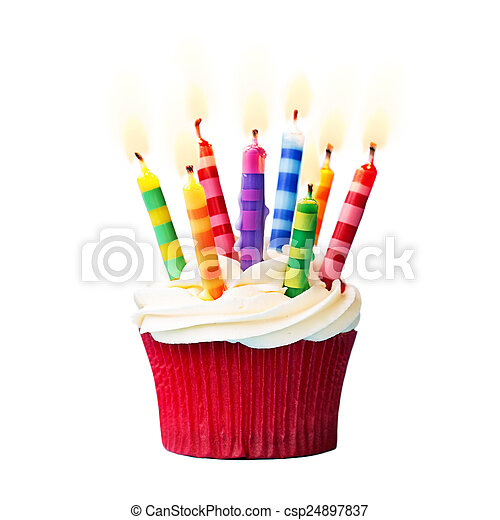 cumpleaños, cupcake - csp24897837