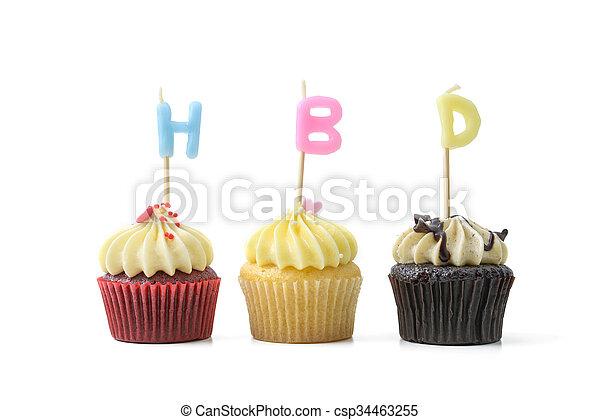 cumpleaños, cupcake - csp34463255
