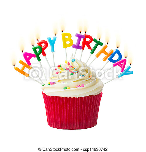 cumpleaños, cupcake - csp14630742