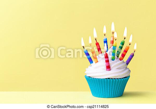 cumpleaños, cupcake - csp21114825