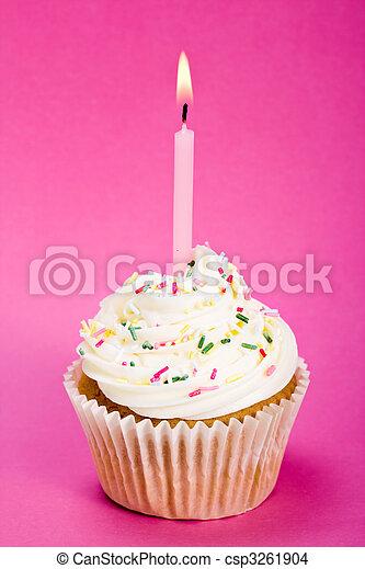 cumpleaños, cupcake - csp3261904