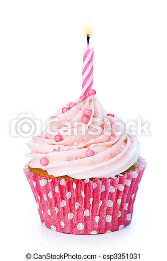 cumpleaños, cupcake - csp3351031