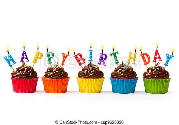 cumpleaños, cupcakes - csp9620336