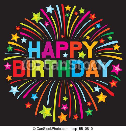 cumpleaños, fuego artificial, feliz - csp15510810