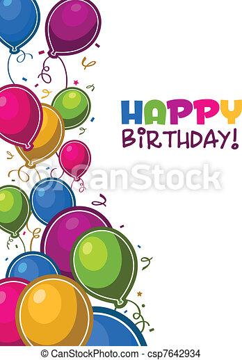 cumpleaños, globos, feliz - csp7642934