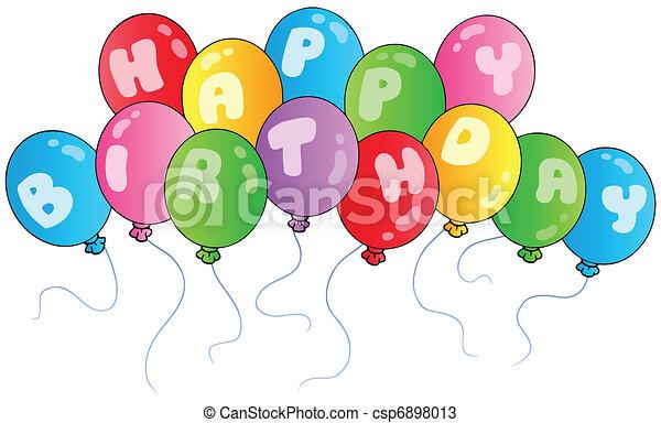 cumpleaños, globos, feliz - csp6898013