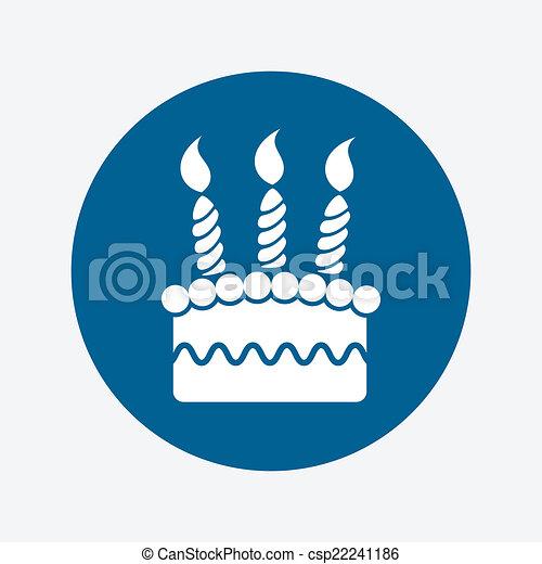 Vector icono de tarta de cumpleaños - csp22241186